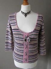 Per Una Women's Striped Medium Knit 3/4 Sleeve Jumpers & Cardigans
