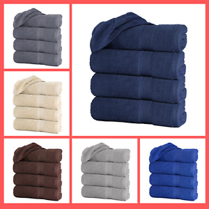 "Set of 4 Large Bath Towel Sheets 100% Cotton 27""x55"" 500 GSM Highly Absorbent"