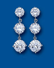Sterling Silver Graduated Triple Clear Cubic Zirconia Solitaire Drops BP2049
