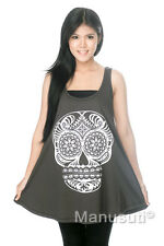 Skull Face Day of The Dead Graphic WOMEN DRESS Tank TOP T-SHIRT Tunic Size M L