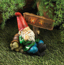 Welcome Gnome Solar Statue Home Yard Garden Patio Outdoor Lighting
