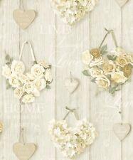 Grandeco Vintage Hearts Cream Wallpaper A14501 Cladding Floral Rose