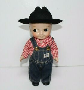 Buddy Lee Composition Doll Union Made Bib Overall Denim Red & Checkered Shirt