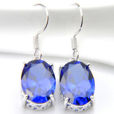 Swiss Fire Blue Topaz Gemstone Silver Woman Dangle Hook Earrings 1.25 Inch New