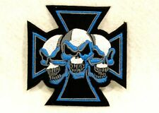 Blue and white Maltese cross with three skulls Small Patch for Biker Vest