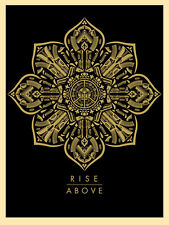 Shepard Fairey RISE ABOVE 2015 print poster guns lotus flower ornament weapons