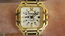 XOSKELETON Automatic Intercontinental Voyager Gold Watch Square Silver Dial
