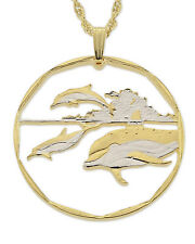 """Dolphins Pendant & Necklace.Marshal Islands Coin Hand cut. 1-3/8""""dia. ( # 406 )"""