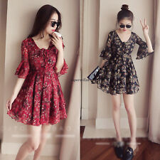 Korean Women Chiffon Empire Waist V Neck Flare Sleeve Slim Summer Dress Black S