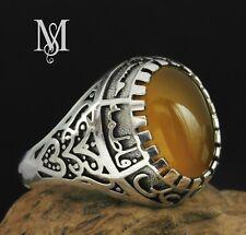 Shia Ring 925 STERLING SILVER Natural yellow AGATE AQEEQ ahlulbayt ehlibeyt