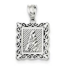 925 Sterling Silver Diamond-cut Initial Letter 'A' Square Polished Charm Pendant