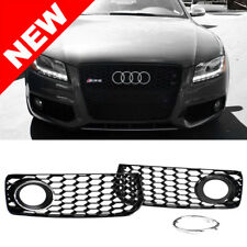 08-12 Audi A5 S-Line / S5 B8 RS5 Style Black Fog Light Grilles w/ Chrome Trim
