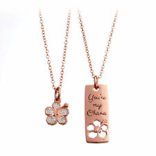 Lilo and Stitch Disney Ohana Hibiscus Hawaii Flower Rose Gold Tone Necklace Set