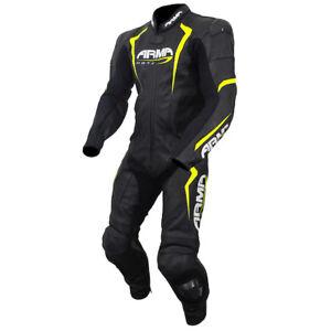 Armr HARDA S Black/Fluo One Piece Motorcycle Racing Leather Suit - Black/Hi viz
