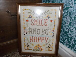 Embroidered Vintage Floral 'Smile & Be Happy'  Wooden Frame Picture B2/6