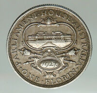1927 AUSTRALIA UK King George V OLD PARLIAMENT HOUSE Silver Florin Coin i85083