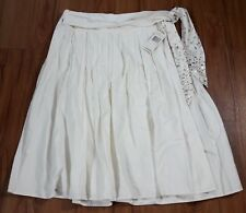 City DKNY A-Line Wrap Skirt Cream/Ivory color Women's 8 Embellished Belt Pleated