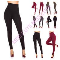 WOMENS LADIES HIGH WAIST WINTER SHAPE THERMAL LEGGINGS FLEECE LINED STRETCH 8-16