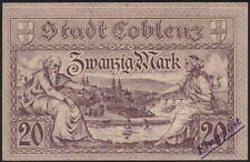 1918 20 Mark Germany Coblenz Rare Old Emergency WWI Money Banknote Currency UNC