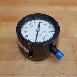 """Ashcroft 45-1279-SS-04L-100# Pressure Gauge, 4-1/2"""", 316 Tube/SKT, 100# Range"""