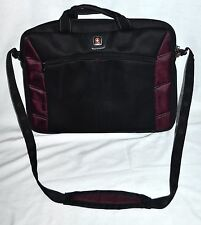 Swiss Gear Black & Purple Lightweight Slim Case Laptop Bag with Shouder Strap