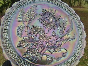 Imperial CHRYSANTHEMUM ANTIQUE CARNIVAL GLASS SIGNED CHOP PLATE~SMOKE~A BEAUTY!