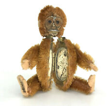 Schuco Monkey Powder Compact Cinnamon Mohair Plush 1920s Jointed 3.5in Antique