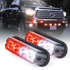 Red White 4 LED Emergency Deck Dash Surface Mount Grille Strobe Flash Light -2Pc
