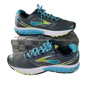 Brooks Ghost 9 Womens Size 11.5 Gray Blue Lime Lace Up Running Shoes 1202251B151