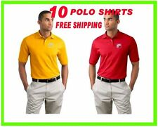 10 Polo Shirts Custom Embroidered - FREE LOGO-Business- Sports- Golf