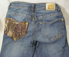 """APPLE BOTTOMS distressed jeans denim Size 3/4 32"""" ? inseam Jeweled Really COOL !"""