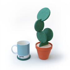 6Pieces Cactus Coasters Cup Holder Beverage Mats Pads With Plastic Flower Pot