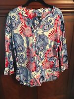 Talbots Colorful Pastel Geometric & Floral Print Cotton Popover Blouse Sz Large