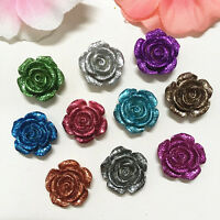 20PCS 14mm Mix Resin Rose Flower flatback Appliques For phone/wedding/Craft·