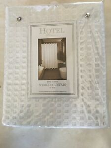 """HOTEL COLLECTION Bath Shower Curtain WAFFLE WEAVE White Cotton 72""""x72"""" BRAND NEW"""