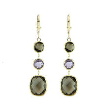 14K Yellow Gold Gemstone Earrings With Amethyst And Smoky Topaz