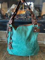 FOSSIL Winslet XL Teal Turquoise Tooled Embossed Leather Hobo Shoulder Bag Purse
