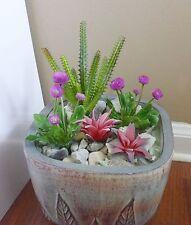 5 Artificial Mini Purple Flower With Succulents Plants