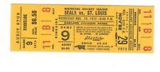 California Golden Seals vs St Louis Blues 1972/73 Unused Full Ticket NHL Hockey