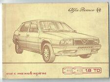 1986 ALFA ROMEO 33 1.8 TD BERLINA - GIARDINETTA 1° serie uso manutenzione