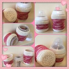 Hand crochet baby bottle Pink covers for tommee tippee 5oz & 9oz New Baby Gift