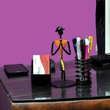 Pen/Pencil and Visiting Card Holder with Attractive Welcome Gesture Lady Orange