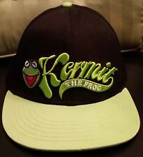 DISNEY Muppets Kermit The Frog Black Green Snapback Hat Truckers Baseball Cap