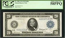 1914 $20 Fr.1006 Dallas Federal Note 58 PPQ-PCGS-High Grade-only 5 graded higher