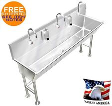 "Hand Wash Sink 3 Station 72""L 12"" Bowl Deep Electronic Faucet Free Standing"