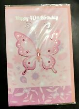 40th Happy Birthday Card Butterfly Card with Envelope