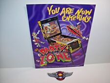 BALLY PARTY ZONE 1991 ORIGINAL PINBALL MACHINE PROMO FLYER + PLASTIC PZ WINGS