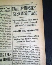 Loch Ness Monster Nessie Monster Scotland Lake Hunted 1933 Old Newspaper