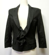 NEW YORK&CO Black Stretch Linen Blend JACKET/BLAZER Ruffled NWT $75 sz M/10