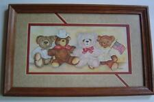 Framed Matted Teddy Bear Family Picture By Ava Freeman Patriotic Four Bears New